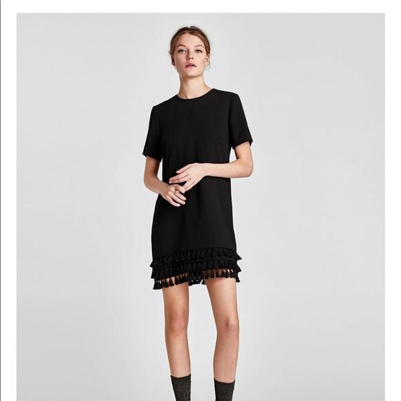c5866e23 Zara Dresses   Black Mini Dress With Pompoms   Poshmark